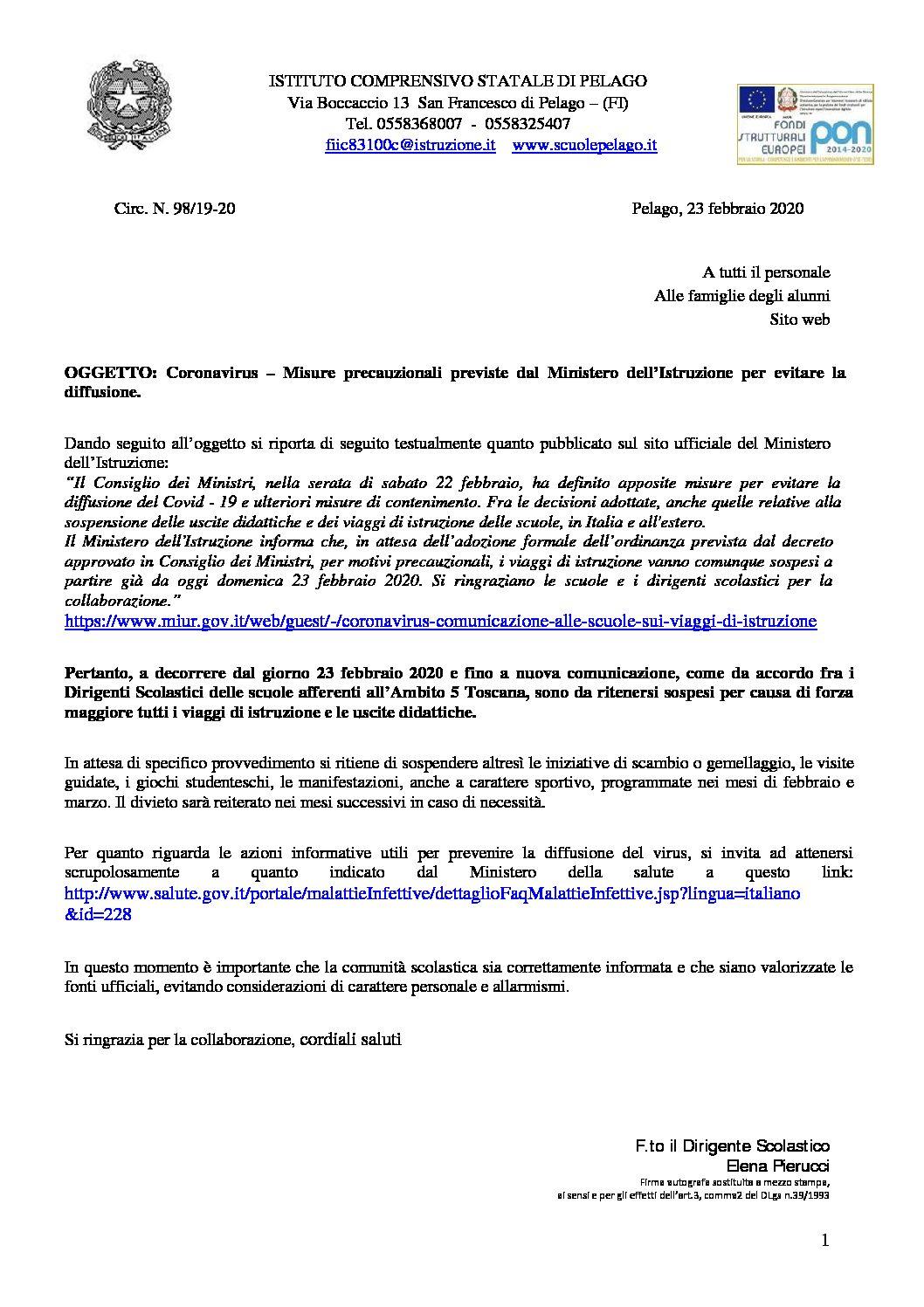 Coronavirus – Misure precauzionali previste dal Ministero dell'Istruzione per evitare la diffusione.